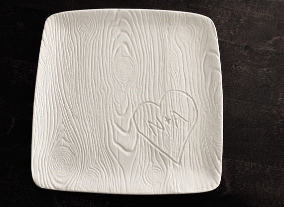Forever Carved in Wood white woodgrain custom platter with couples initials for bridal shower wedding engagement party