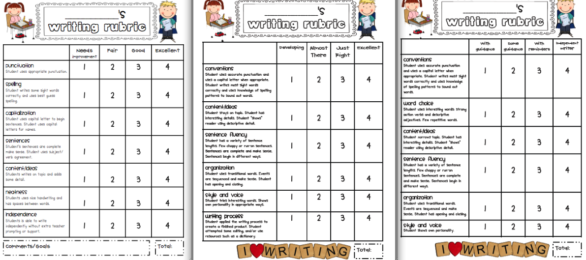 first grade writing rubric kid friendly