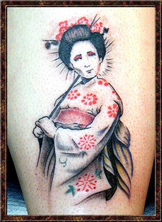 japanese geisha girls tattoos design. Black Bedroom Furniture Sets. Home Design Ideas