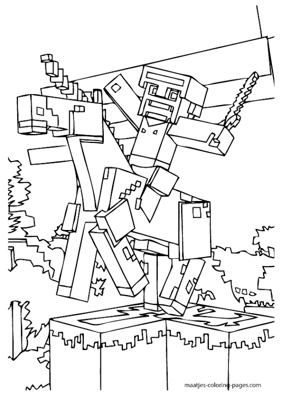 excellent minecraft coloring pages title=
