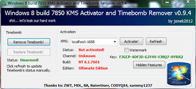 Download Windows 8 build 7850 KMS Activator and Timebomb Remover 0.9.4 ( Activator Windows 8 )