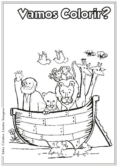 Desenho da Arca de Nóe para colorir
