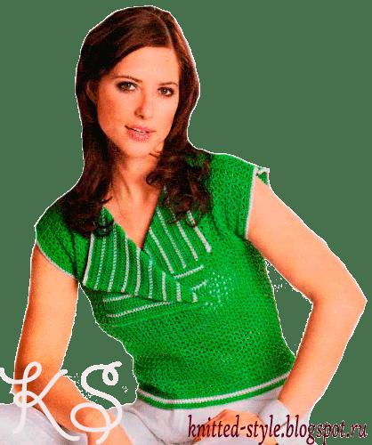 Зеленый топ с белой отделкой