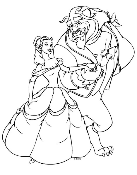 Disney Princess Belle And Prince Coloring Pages