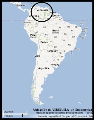 Ubicación de VENEZUELA en Sudamérica, Google Maps