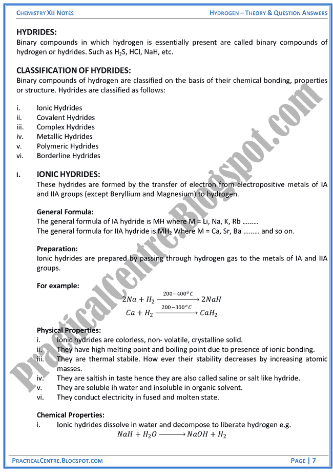 hydrogen-theory-and-question-answers-chemistry-12th