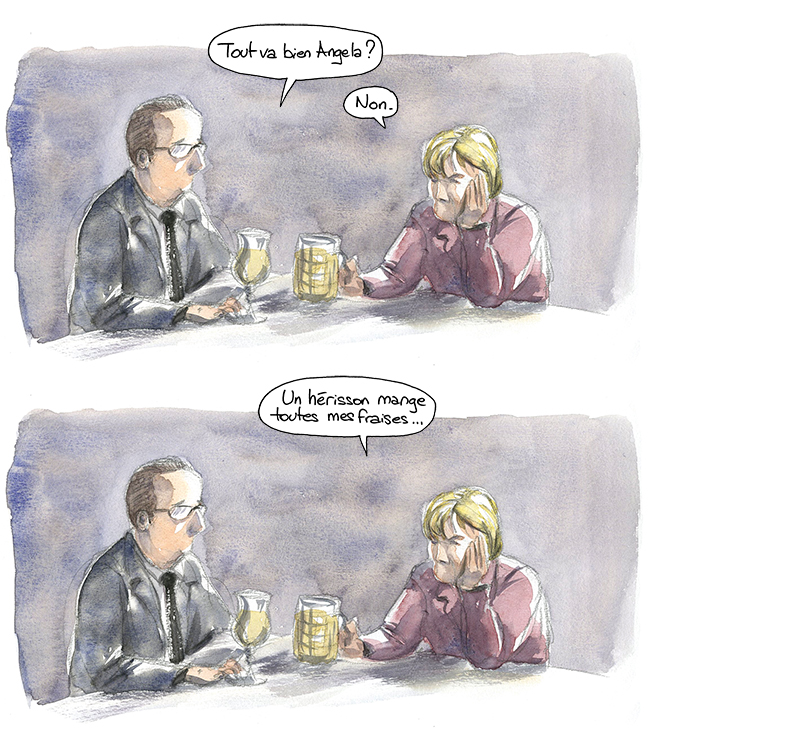 Hollande et Merkel, hérisson