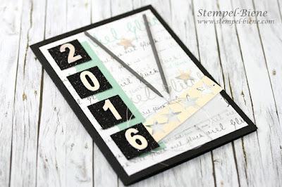 Silvesterkarte; Stampin up Silvesterkarte; Silvesterdeko basteln, Stampin Up Recklinghausen, stempel-biene, Silvestergeschenk