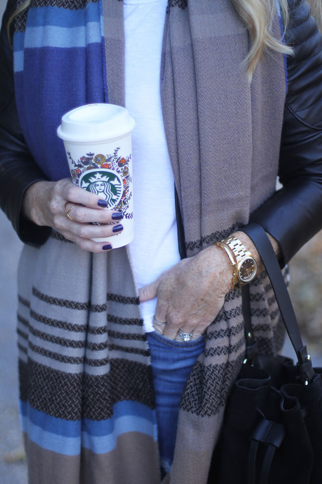 hinge scarf, elizabeth & James ring, ciate nail polish