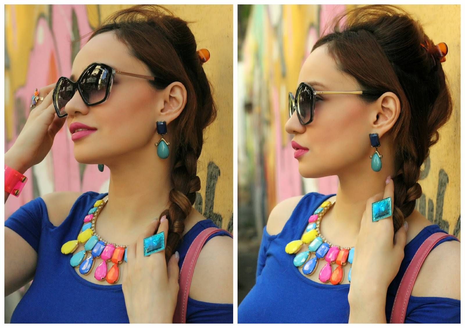 Multi-coloured Necklace, Blue Ring & Blue Earrings