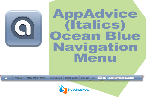 AppAdvice (Italics) Ocean Blue Navigation Menu