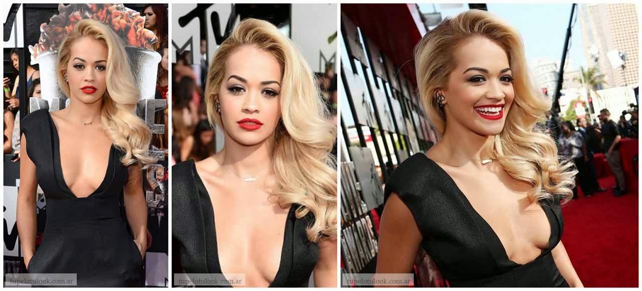 peinados 2014 largos ondas Rita Ora