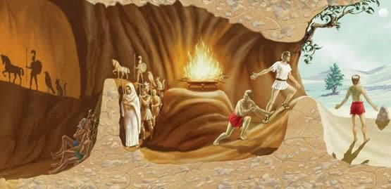 Imagem do Mito da Caverna de Platão: Uma alegoria famosa da filosofia
