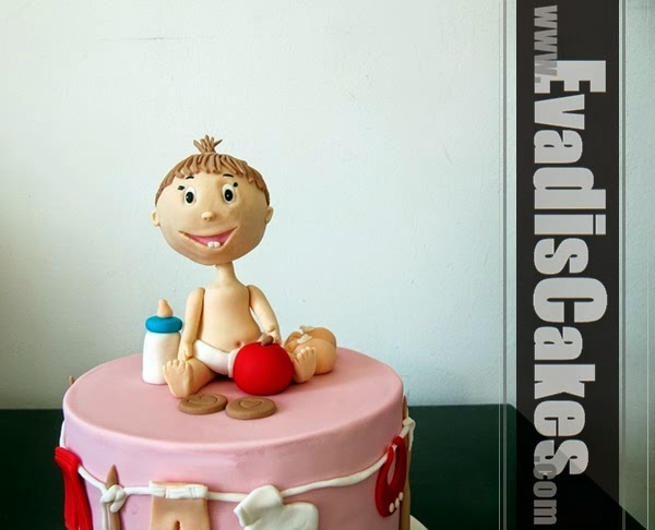 Big head baby cake overall view