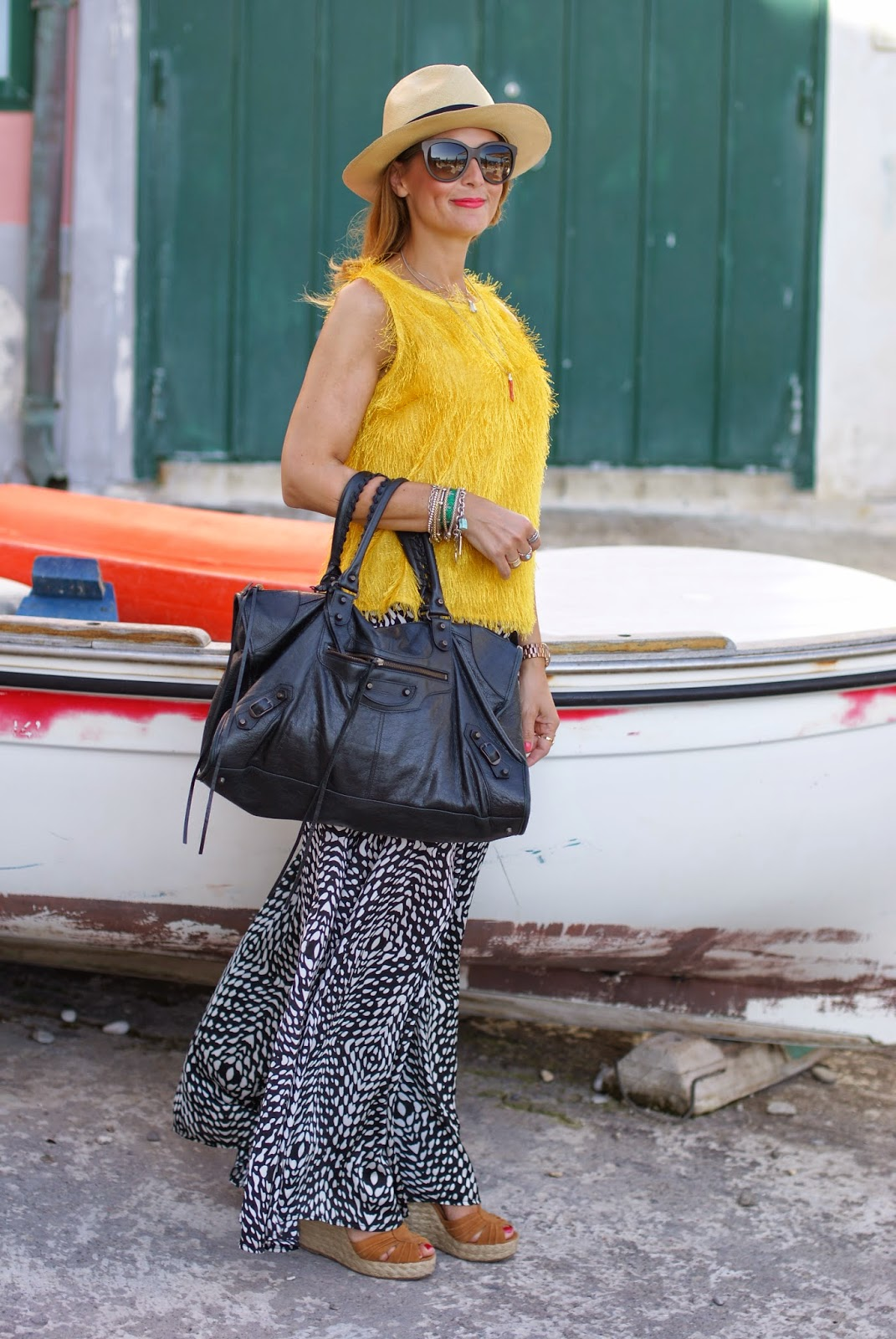 black and white maxi skirt, hairy fabric top, Balenciaga work bag nera, Ecua-Andino Panama hat, Fashion and Cookies, fashion blogger