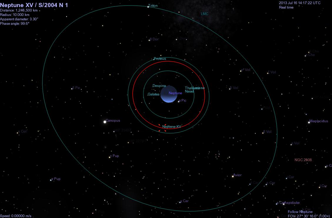 neptune moons It seems to be about 65,400 miles from the planet, between its two other moons  — larissa and proteus many of neptune's moons were.