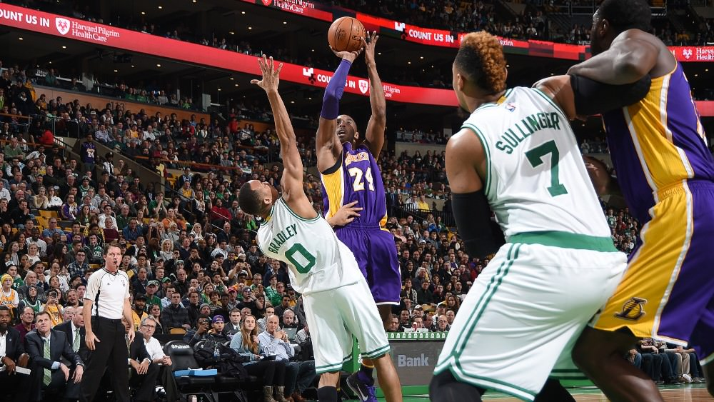 Kobe Bryant in action in his last game in Boston