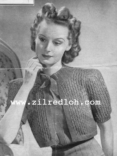 1930's Knitting - Bestway's Lacy Bolero free pattern