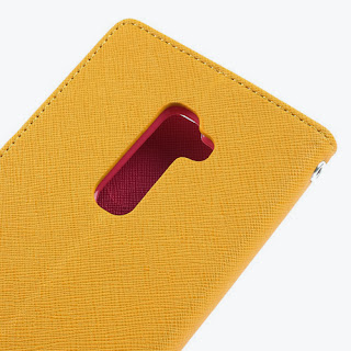 Mercury Fancy Diary Leather Case Wallet Stand with Card Slot for LG Optimus G2 D801 D802 D803 - Yellow