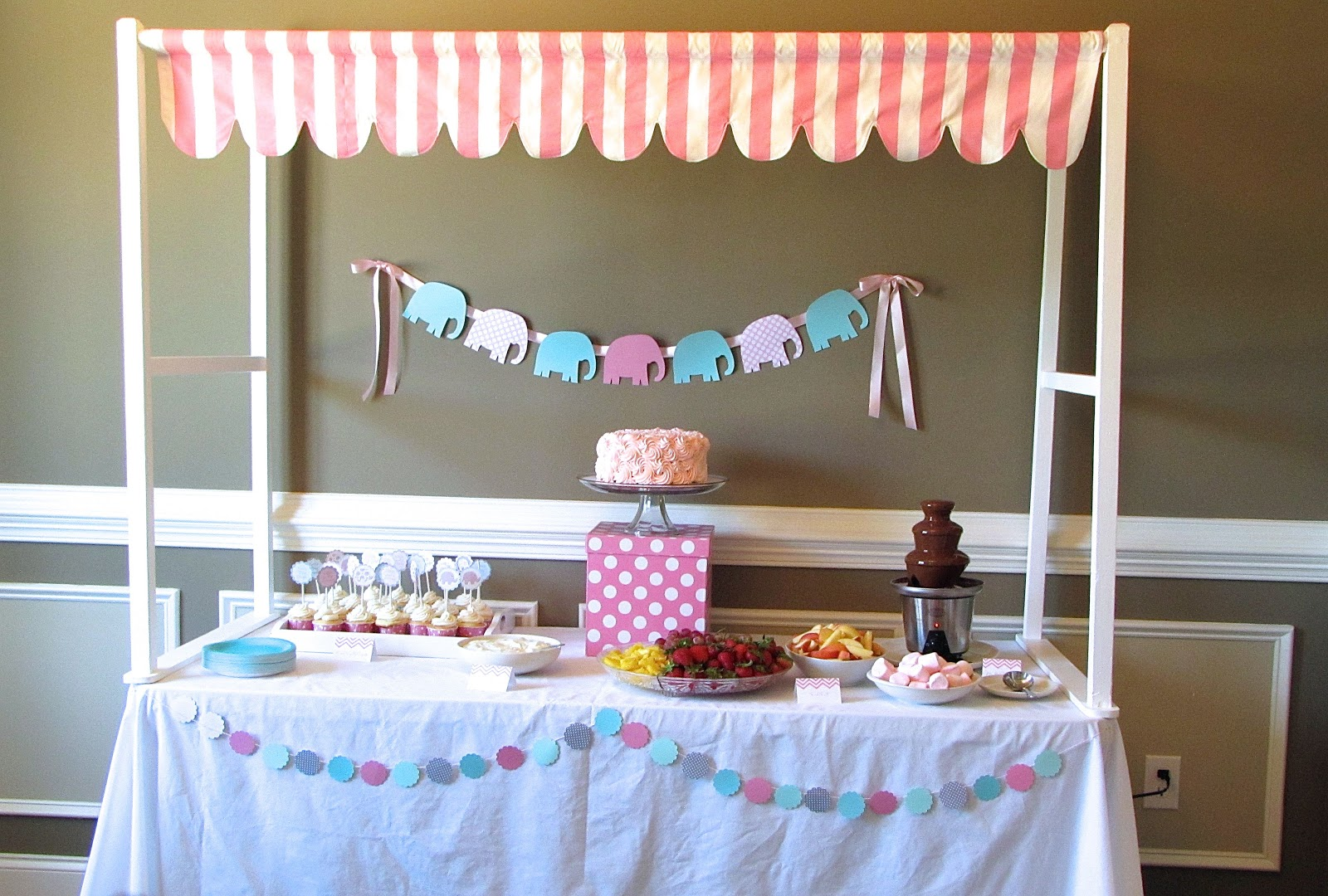 Dessert Canopy For Pink And Aqua Baby Shower