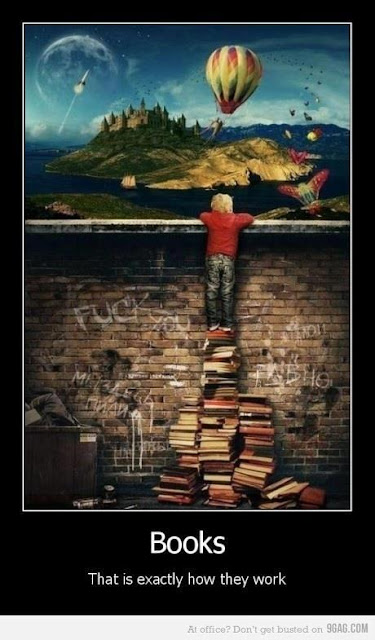 child standing on a pile of books to see over a brick wall to the worlds beyond