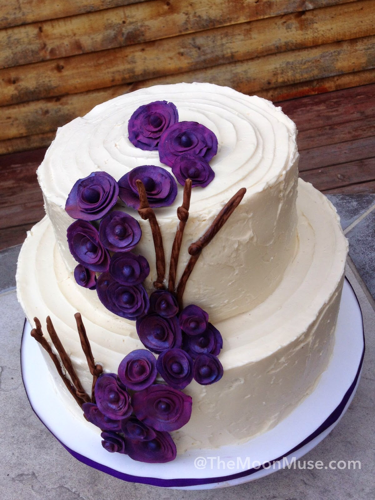 Rustic buttercream twig wedding cake flowers fondant alaska seward the moon muse elegant