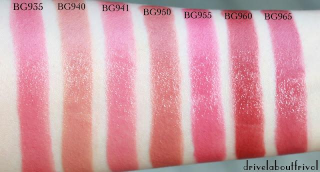 lipstick swatch Shu Uemura BG935, BG940, BG941, BG950, BG955, BG960, BG965, BG 935, BG 940, BG 941, BG 950, BG 955, BG 960, BG 965