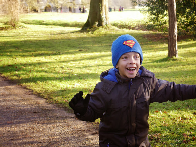 Lucas running around at Lacock Abbey