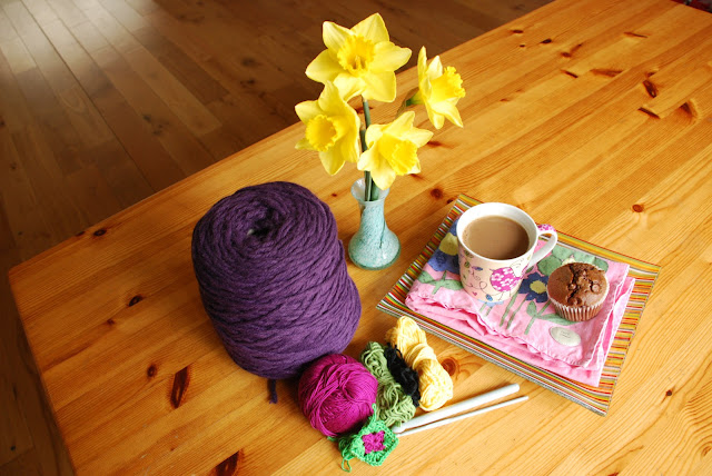 image of yarn and snacks