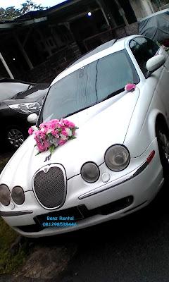 Rental sewa mobil pernikahan Jaguar putih di Bogor