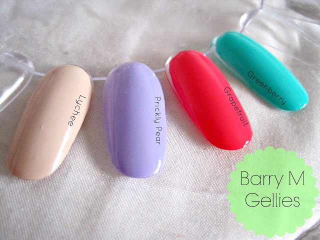 barry m gelly gellies nail polish Lychee, Prickly Pear, Grapefruit,Greenberry
