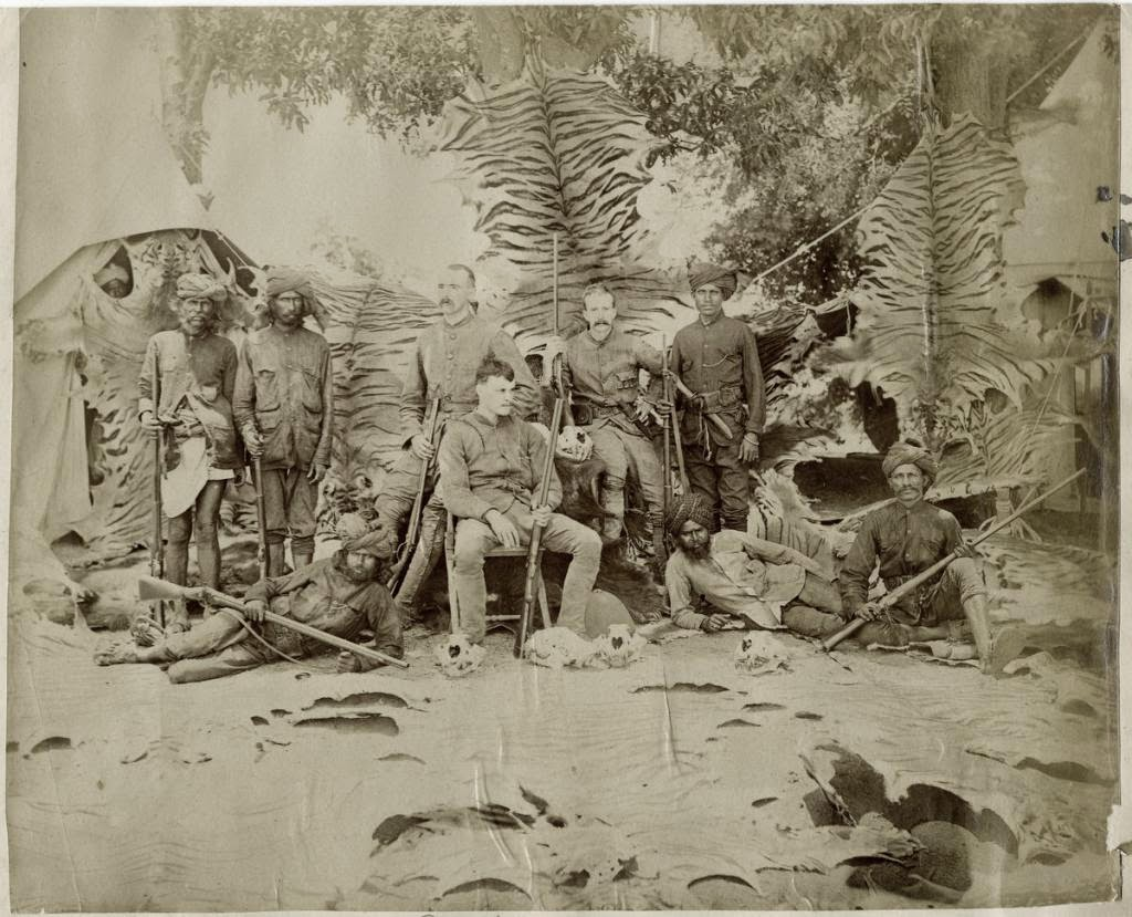 Indian and Europeans Tiger Hunting Party Group Photo - c1880's