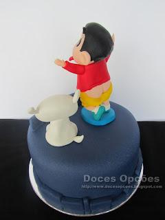 bolo cu à mostra Shin Chan