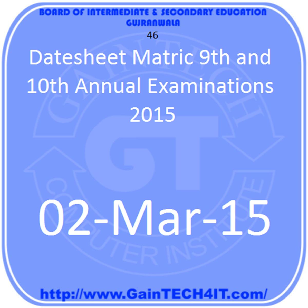 Matric Annual 2015 Datesheet