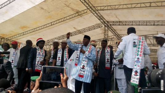 Former President Goodluck Jonathan Spotted at Governor Dickson's Campaign Rally