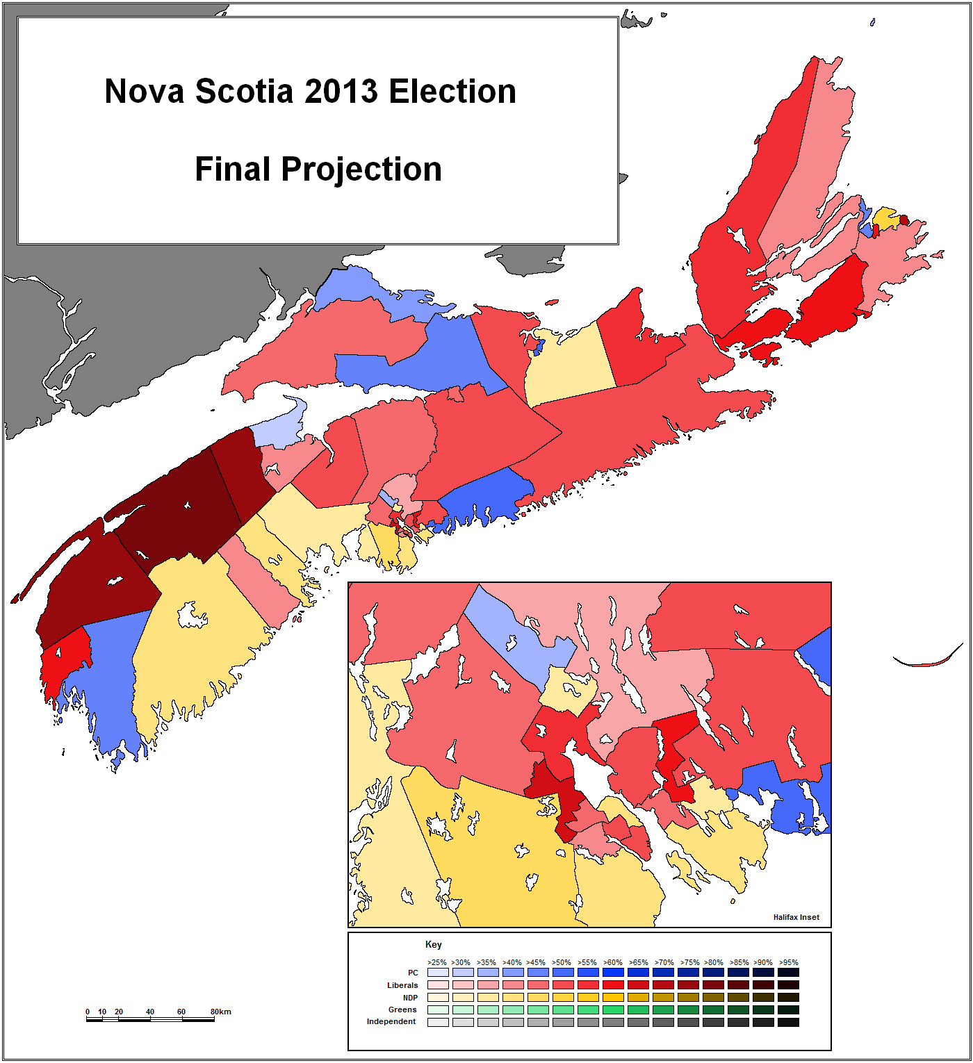 Nova Scotia 2013 Election Day Projection