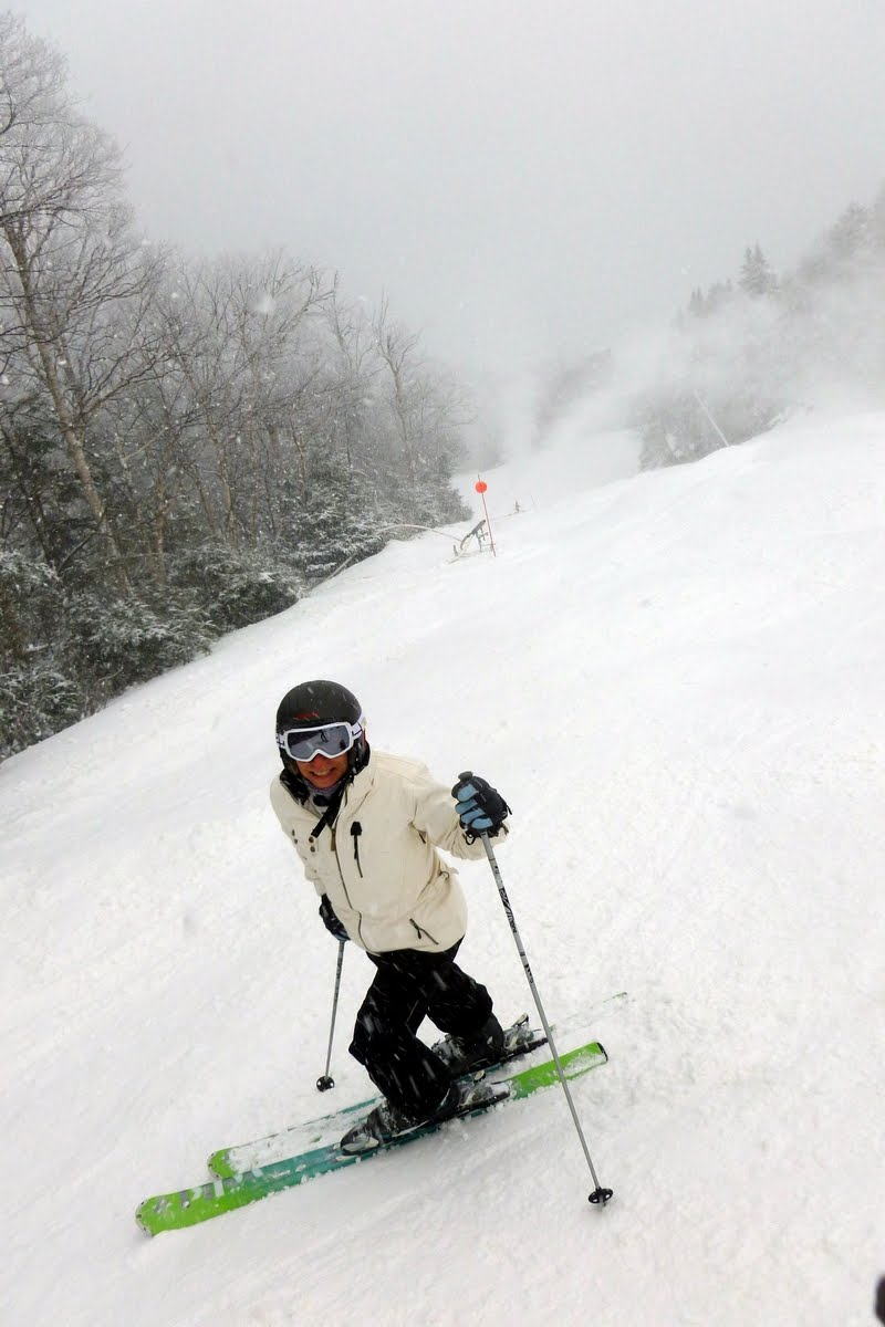 Beth enjoying the snow on Essex, Whiteface Media Day, December 12.  The Saratoga Skier and Hiker, first-hand  accounts of adventures in the Adirondacks and beyond, and Gore Mountain ski blog.