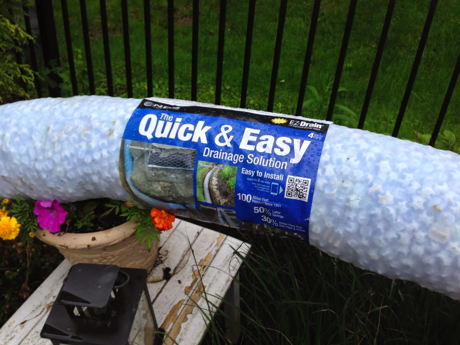 Quick and easy drainage solution for french drains around pool-www.goldenboysandme.com