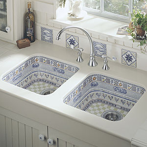 fregadero doble cerámica interior pintado