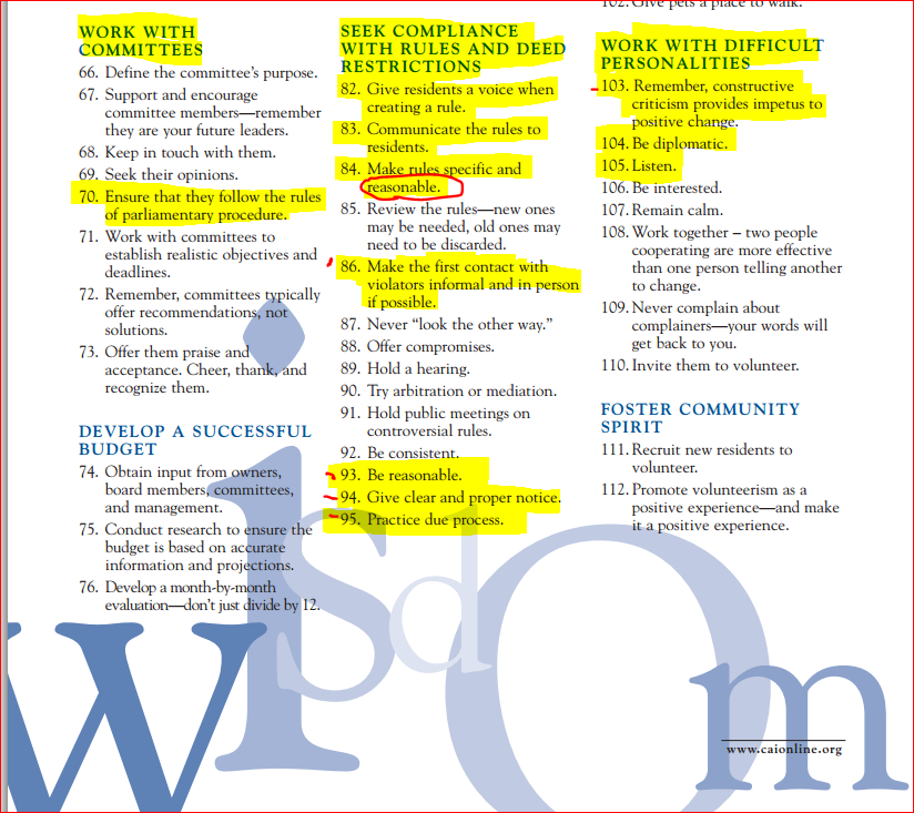 Snippet from Pearls of Wisdom: 130 Cultured Gems for Community Association Living—and Leading