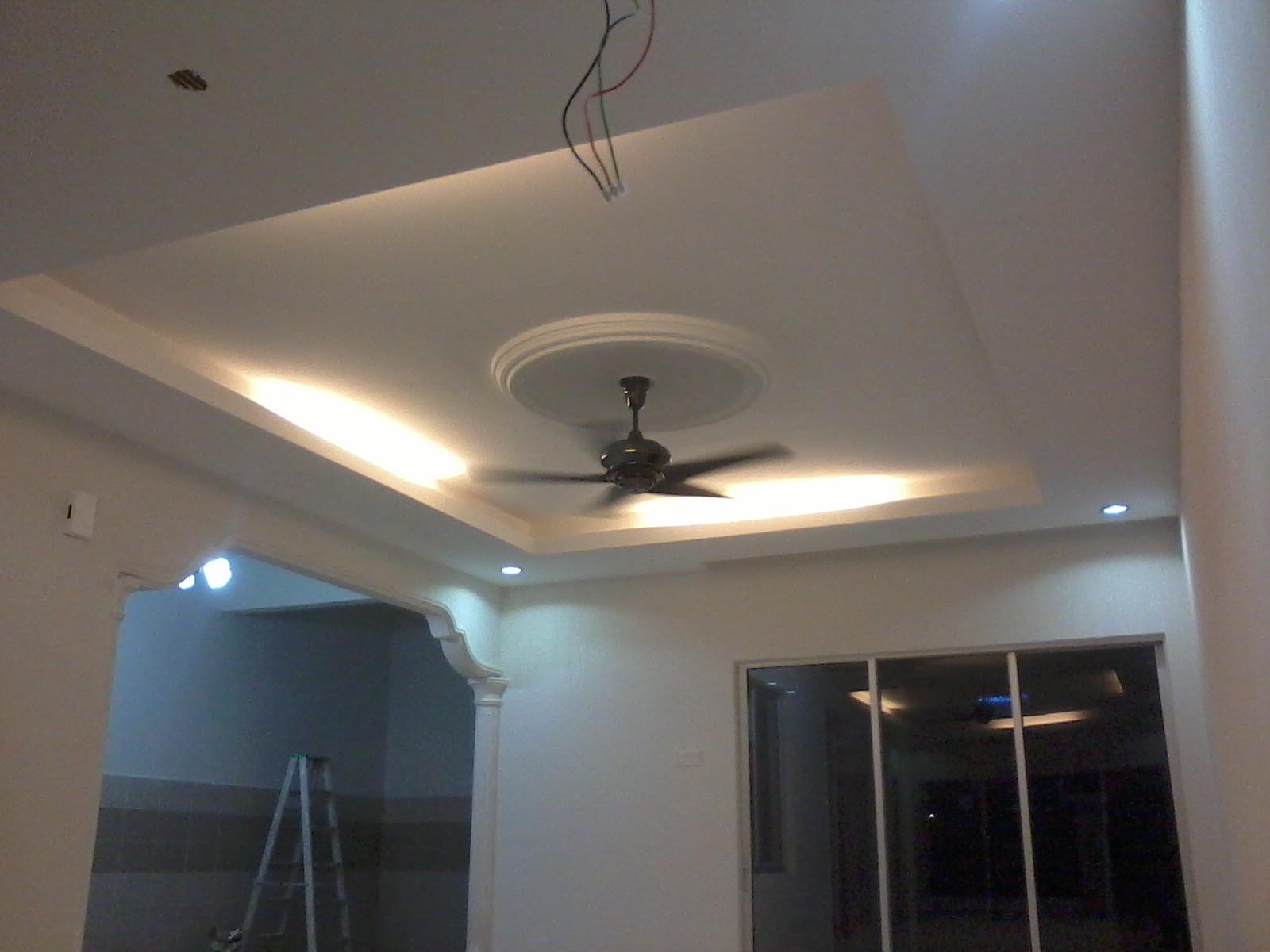Siling Plaster Gaya Moden dan pencahayaan Ruang tamu di DENAI ALAM