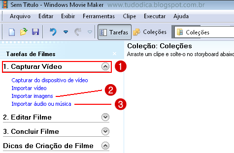 Importar arquivo Movie Maker