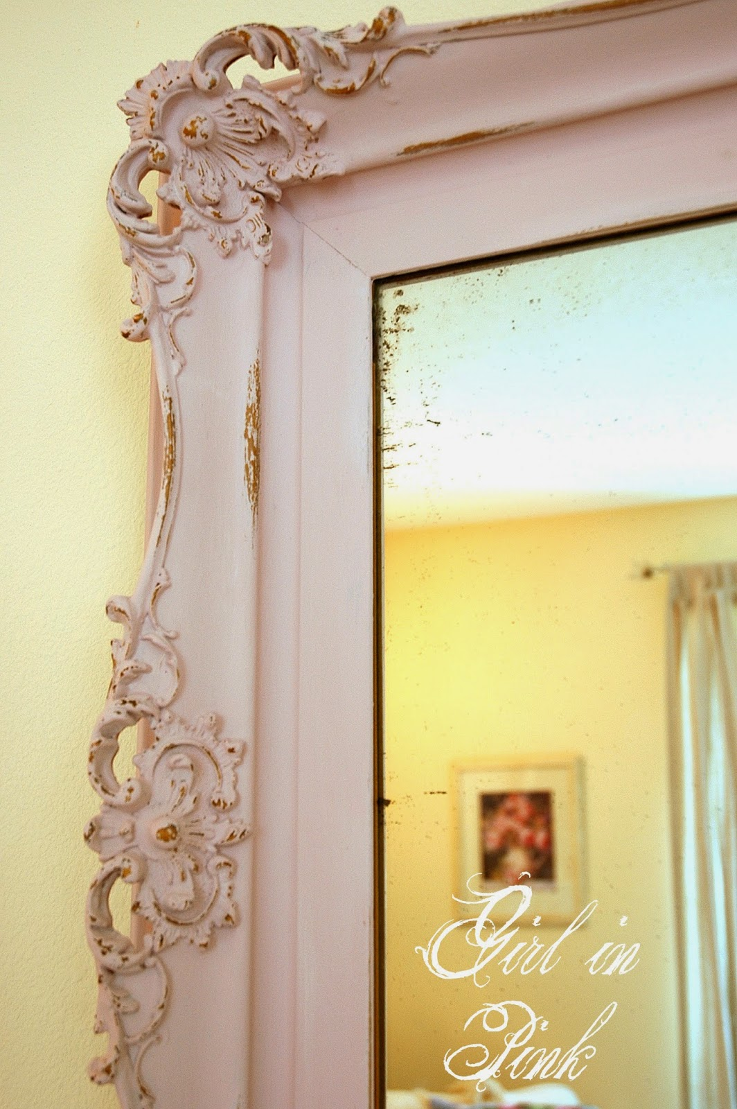girl in pink in with the old and a mirror painting tip. Black Bedroom Furniture Sets. Home Design Ideas
