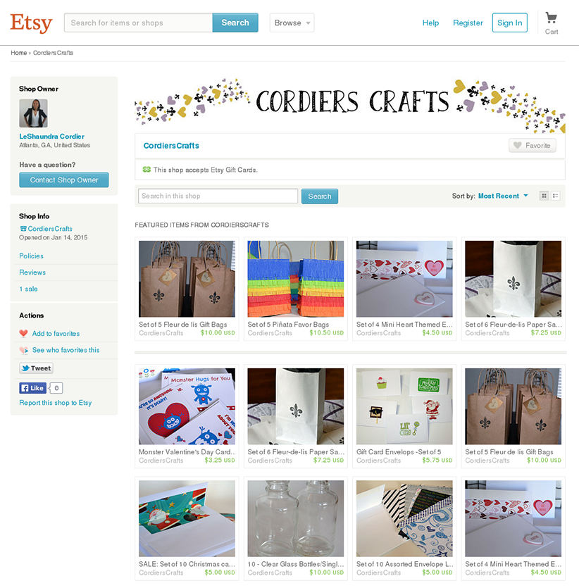 Cordiers Crafts Etsy Store screenshot