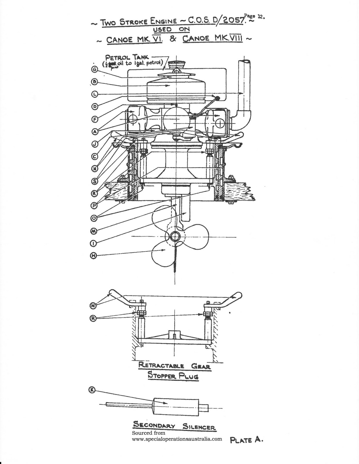 Arnhem Jim The War Canoes Of World Ii Cockleshell Heroes 2 Cycle Engine Diagram Engineering Drawing Detailing Retractable Two Stroke Gasoline Installed In Canoe Mk Vi And Viii