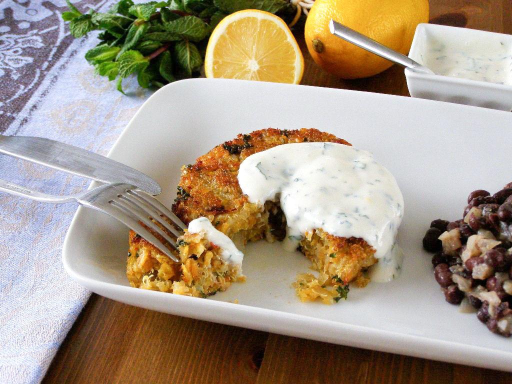Spiced Quinoa and Sweet Potato Cakes with Lemon Mint Yogurt and Black ...