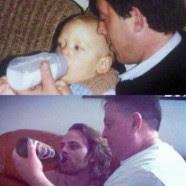 papá dándole la mamadera a su bebe adulto