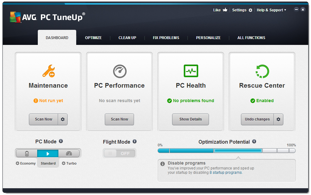 how to deactivate avg pc tuneup