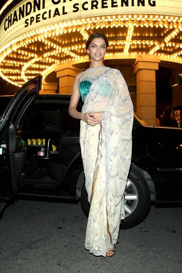 Deepika Padukone in white saree hottest Navel Show belly visible black