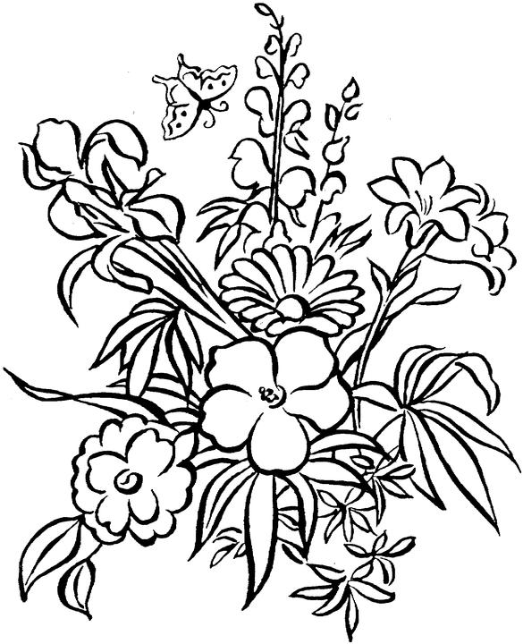 Flower Colouring Pages : Free flower coloring pages for adults page